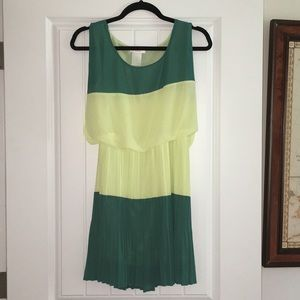 Green Color Block Cocktail Dress
